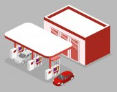 Isometric flat 3D concept vector outside Gas station petrol station