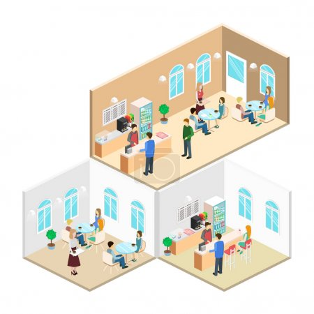 Isometric interiors of cafe