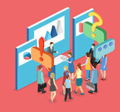 Vector illustration design of Isometric exhibition or promotion stand