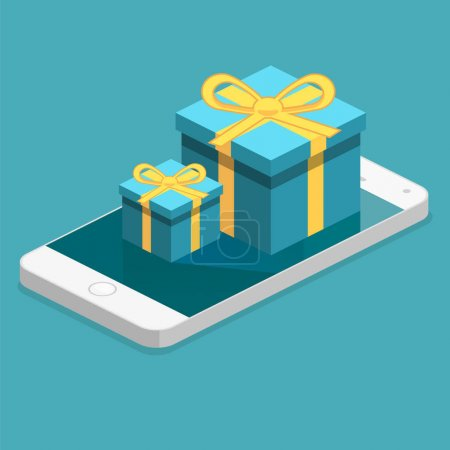 gift boxes on top of phone touch screen