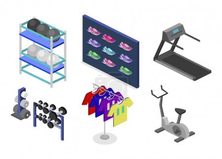 Illustration for Isometric flat 3D isolated concept vector goods for the sports shop. Stand with sneakers, clothes, baseball swords,dumbbells - Royalty Free Image