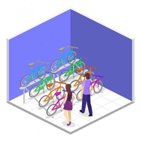 Isometric 3D interior of bicycle shop