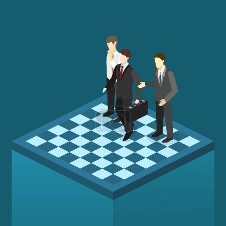 Businessmen figures on chessboard