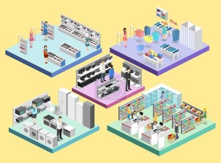 Illustration pour Intérieurs isométriques du centre commercial, épicerie, ordinateur, ménage, magasins d'équipement. Illustration vectorielle 3D plate - image libre de droit
