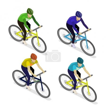 Group of cyclists on white