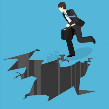 Businessman running into abyss