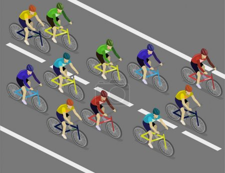 Isometric flat group of cyclists