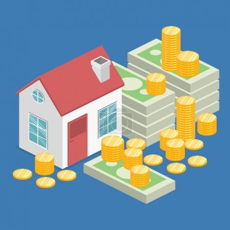 Illustration for Isometric flat 3D isolated vector property Investment concept. House and real estate money investment - Royalty Free Image