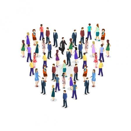 Illustration pour Isométrique grande foule de gens en forme de cœur. Illustration vectorielle . - image libre de droit