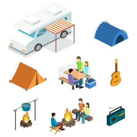 Illustration for Isometric flat 3D isolated concept vector landscape for camping. - Royalty Free Image