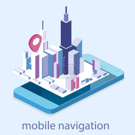 isometric mobile navigation maps