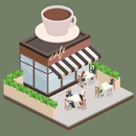 Isometric exteriorof coffee shop
