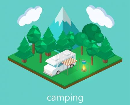 Isometric landscape for camping.