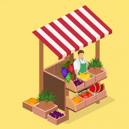3D isolated concept  fruit stand.