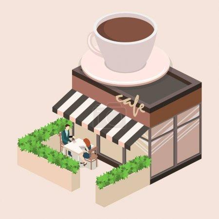 Isometric exterior of coffee shop