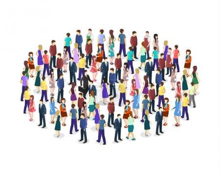Illustration pour Les grandes personnes foule sur fond blanc. Illustration vectorielle . - image libre de droit