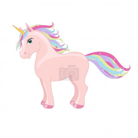 Pink standing unicorn with mane and horn. Vector starry background.