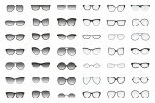 Set of glasses shapes for different face types Many types of sun glasses Vector fashion collection