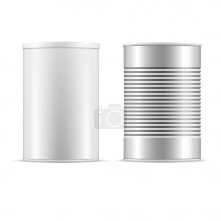 Illustration for Tin can collection. White and metallic tin cans with cap. - Royalty Free Image