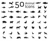 Set of 50 animal icons