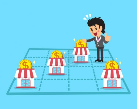 Illustration for Cartoon businesswoman earning money with franchise business for design. - Royalty Free Image