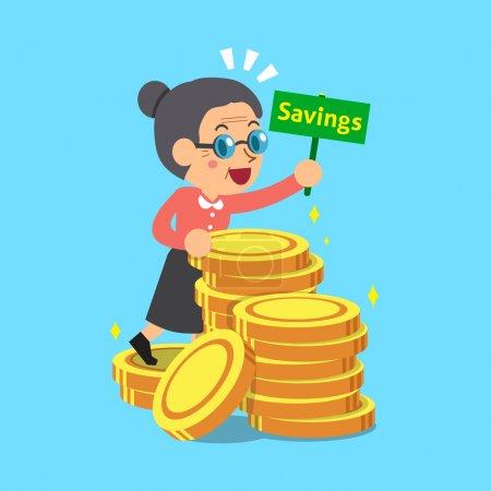 Illustration pour Femme âgée avec des pièces d'argent pour la conception . - image libre de droit