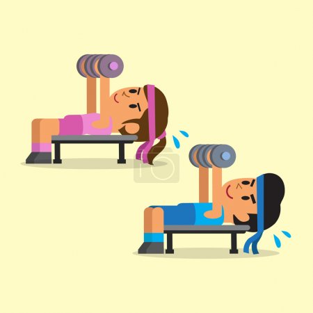 Cartoon man and woman doing dumbbell press exercise