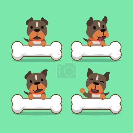 Cartoon character pit bull terrier dog with big bones