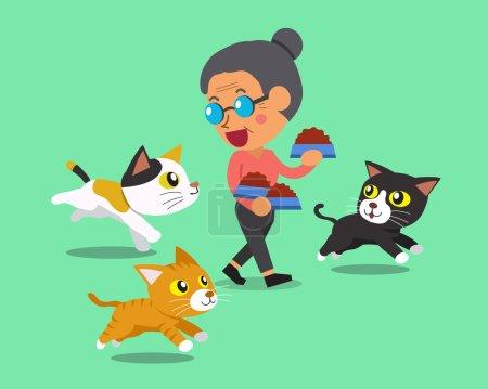 Cartoon senior woman feeding cats