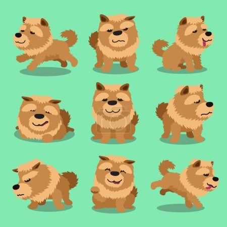 Cartoon character chow chow dog poses