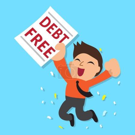 Illustration pour Homme d'affaires de bande dessinée avec la lettre libre de dette pour le design . - image libre de droit