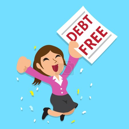 Illustration pour Dessin animé femme d'affaires avec dette lettre gratuite pour le design . - image libre de droit