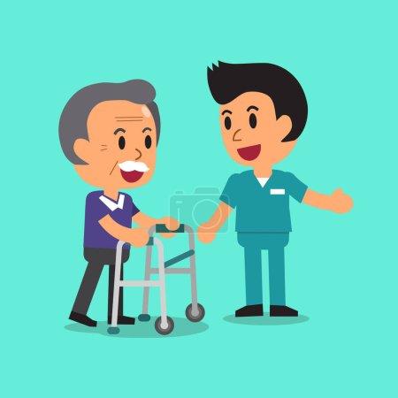 Cartoon Senior Mann zu Fuß mit Paddel Rollator und männliche Krankenschwester