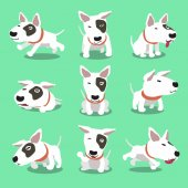 Cartoon character bull terrier dog poses