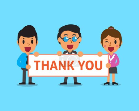 Illustration for Cartoon business team holding thank you sign for design. - Royalty Free Image