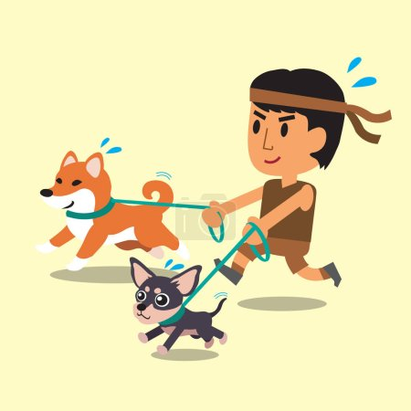 Cartoon a man running with his dogs