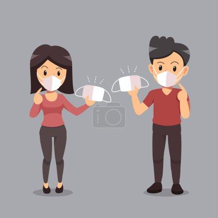Illustration pour Concept de pollution de l'air couple portant un masque protecteur pour la conception . - image libre de droit