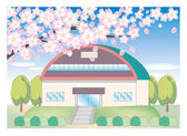 Cherry tree and school landscape - gymnasium