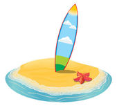 Sea landscape summer beach, surfboards stuck in the sand.  of the  to the island in the distance in  vacation.  collection. Vector flat illustration