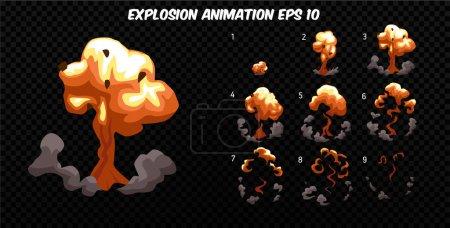 Illustration pour Exploser animation effet avec de la fumée. Cadres d'explosion de bande dessinée. Sprite feuille d'explosion. Animation pour jeu ou dessin animé . - image libre de droit