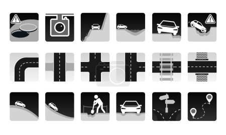 Illustration for Black and grey vector set of road icon on white background. Different dangers and troubles on the way and other road items: pit, bad asphalt, rut, stones, open hatch, construction, avalanche. And several types of crossroads. - Royalty Free Image