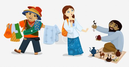 Vector illustration of comic tourist girl and street dealers. Scared woman refuses to buy goods from insistent sellers.