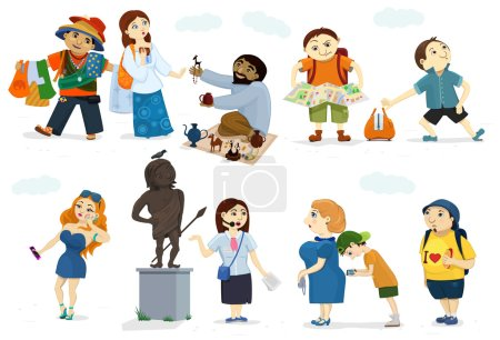Illustration for Different types of sightseers. Funny characters of people: heavy tourist with hot dog, glamour girl with smartphone, mom and her son with device, young tourist girl, strayed backpacker also burglar, street dealers, statue with pigeon on a head. - Royalty Free Image