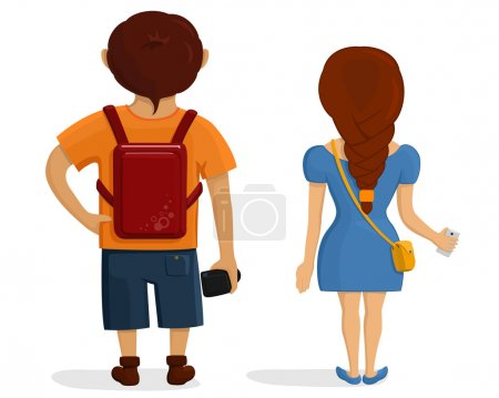 Illustration for Backside view of person. Isolated vector illustration of cartoon tourists character on white background. - Royalty Free Image