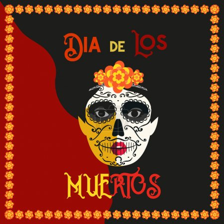 Illustration for Mexican Dia de los Muertos. Day of the Dead Woman with Sugar Skull Face tattoo. Tradition holiday in Mexico. Flat colorful style. Vector design fest banner with Cavalera Catrina roses frame background - Royalty Free Image