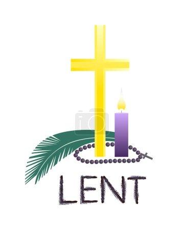 Church religious Lent symbols flat color vector ba...