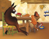 Donkey cat rooster and dog having dinner