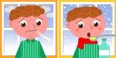 Sick Boy In Winter Vector