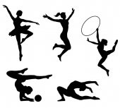 Women practicing gym and ballet silhouettes - Vector