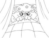 Coloring Big bad wolf in granny's bed vector
